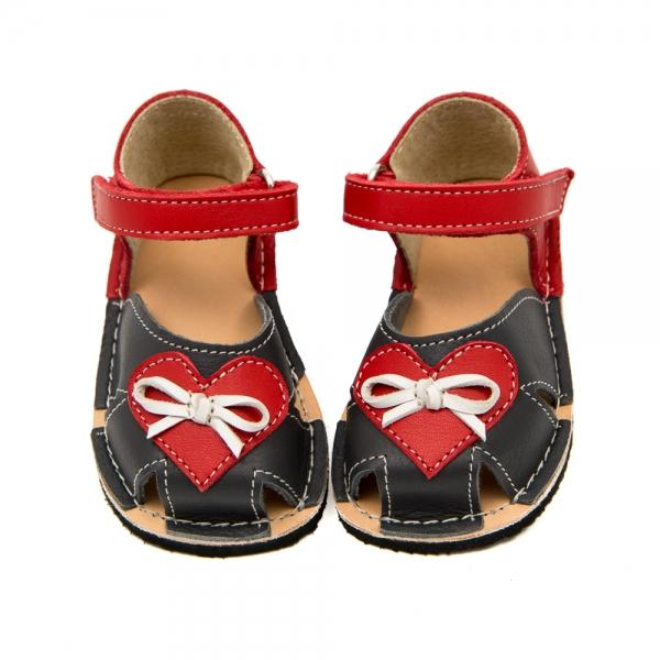 Zeazoo Barfuss-Sandalen NEMO `Grey with Red Heart`